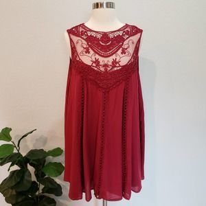 Entro Lace Tunic Dress Red Boho Embroidered Small